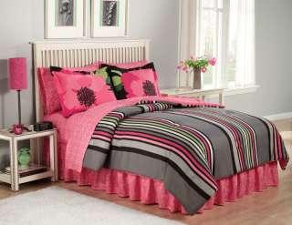 TWIN Girls Teen LEOPARD PRINT STRIPE Comforter Bed Set