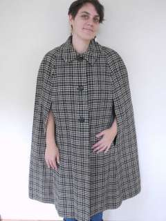 Vtg 50s Wool TWEED Black and White Cape Shawl Lined
