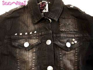 LAVIGNE~ ABBEY DAWN PYRAMID STUD BLACK DENIM JACKET L