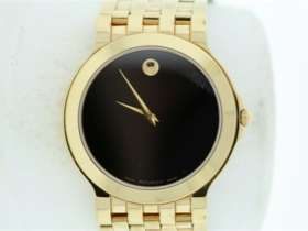 Mens Movado Gold Tone Stainless Steel Black Dial Sapphire Crystal