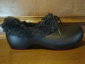 New Womens CROCS GRETEL Faux Fur Black Winter Clog