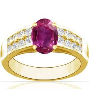 18K Yellow Gold Oval Cut Pink Sapphire Ring With