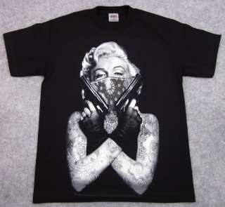 MARILYN MONROE T shirt Tattoo Bandit Tee Guns Bandana Adult M,L,XL,2XL