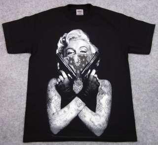 MARILYN MONROE T shirt Tattoo Bandit Tee Guns Bandana Adult M,L,XL,2XL