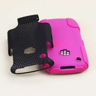 Blackberry Curve 3G 8520/9300 Black/Pink Hybrid Case
