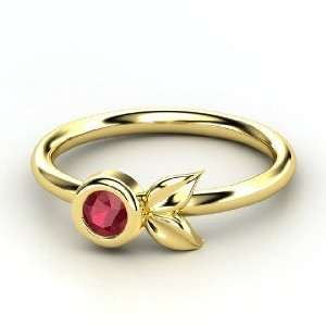 Boutonniere Ring, Round Ruby 14K Yellow Gold Ring Jewelry