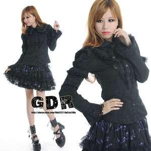 GOTHIC DOLLY PUNK Lolita CUTE 81013 SHOULDER BLACK SHIRT S L