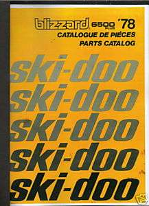 1978 SKI DOO BLIZZARD 6500 SNOWMOBILE PARTS MANUAL