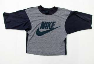 Vtg 80s NIKE Rayon Half T Shirt SIZE S Gray Tag Grey Blue