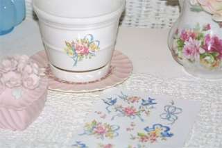 ADORABLE chic *BLUE BIRDS ROSES & BOWS DECALS* shabby