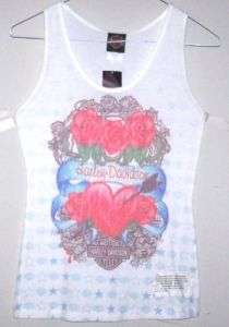 Womens Harley Davidson Small White Tank Top   LOVE ME