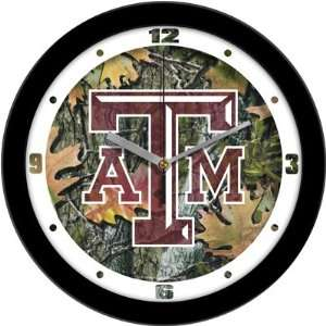 Texas A&M Aggies TAMU NCAA 12In Camo Wall Clock: Sports