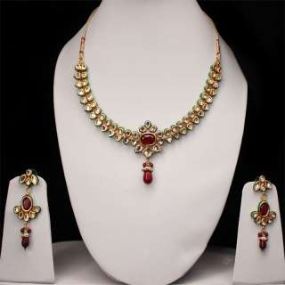 Indian Bollywood Jewelry Fashion Beautiful Necklace With Ruby and