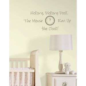 NURSERY RHYME HICKORY DICKORY Wall Stickers Decal Mouse