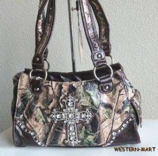 NEW WESTERN BROWN GREEN CAMO MOSSY OAK RHINESTONE BLING CROSS SATCHEL