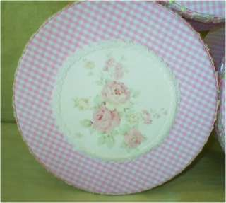 Fabric Covered Hat Boxes ,Sage Gr. Gingham,Emb. Roses