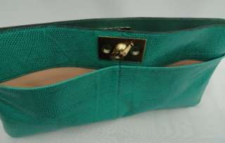 BN Auth Chloe Green Lizard Leather Oversized Clutch Bag