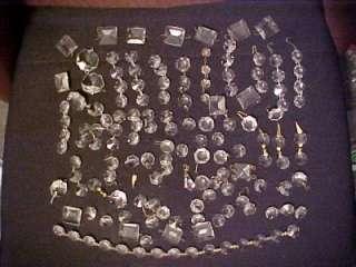 Antique Cut Crystal Glass Chandelier Lamp Prisms Faceted Repair Parts