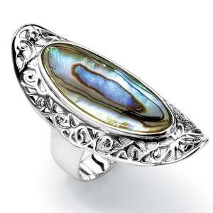PalmBeach Jewelry Sterling Silver Abalone Scroll Ring Jewelry