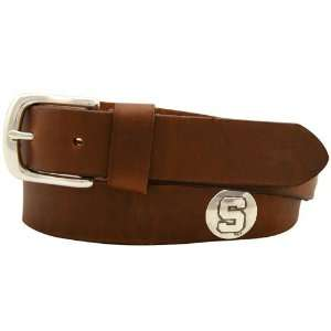 Michigan State Spartans Brown Leather Coaches Belt (36