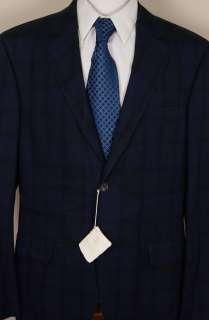 BRUNELLO CUCINELLI COAT $2350 NAVY GLEN PLAID 3 BTN BLAZER SPORT COAT