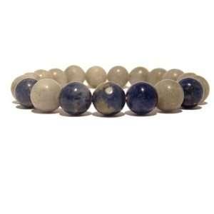 com Calcite Bracelet 05 Stretch Sodalite Gray Blue Grey Stone Crystal