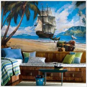 New PIRATE SHIP PREPASTED WALLPAPER MURAL Pirates Room Decor Wall
