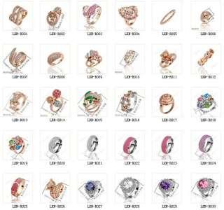 18K Gold Multi Design/Style Swarovski Crystal GP Ring