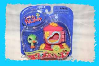 Littlest Pet Shop GREEN BIRD with Feeder House #208 NEW