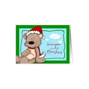 Nephews first Christmas   Teddy Bear Card Health