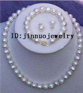 8MM Real Cultured Pearl Necklace Bracelet Earring Set