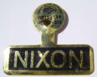 President Richard Nixon Campaign Pinback Button Tab Pin