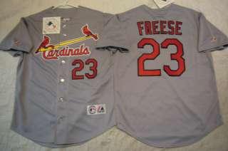MAJESTIC St Louis Cardinals DAVID FREESE SEWN Baseball Jersey GRAY NEW