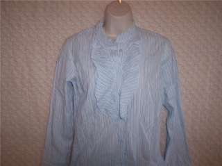 NWT Juniors Blue/White Striped Button up Shirt Small