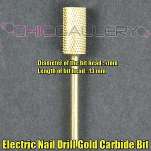 1pc Electric Nail Drill Gold Carbide Bit Model #C #483C