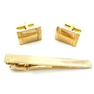 Stacy Adams Gold Textured Sides Cufflinks and Tie Bar Set