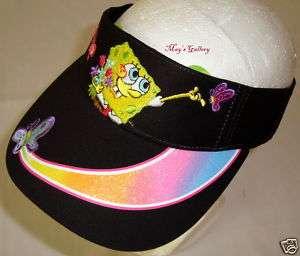 Spongebob Glitter Visor Cap Hat Adjustable Velcro NWT