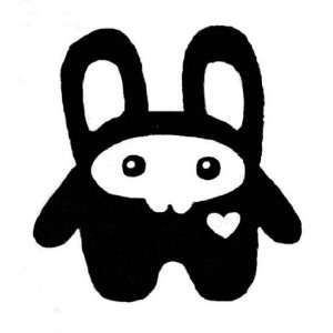 SQUEE ROLLY RABBIT with a Heart, BLACK 5 Vinyl STICKER