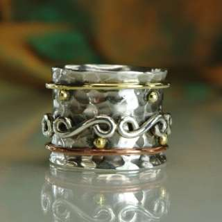925 STERLING SILVER SPIN SPINNER RING   Sz 7 3/4, P   FABRIIKA