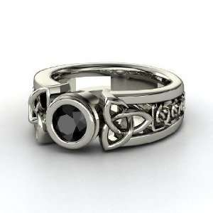 Celtic Sun Ring, Round Black Diamond Sterling Silver Ring