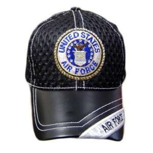 AIR FORCE SEAL BLACK MESH LEATHER BRIM CAP HAT ADJ