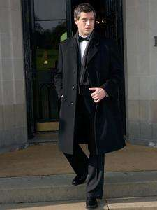 MENS OVERCOAT BLACK LONG COAT ITALIAN CASHMERE & WOOL FABRIC CHEST 46