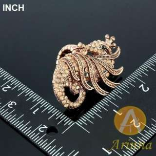 Arinna brown sea horse rose gold GP Crystal finger Ring