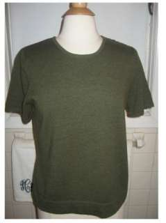 Womens EDDIE BAUER Italian Merino Wool Dark Olive Green Short Sleeved