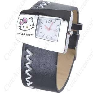 Kitty Wide Wrist Band Black Color Watch + Promo Hello Kitty Charm