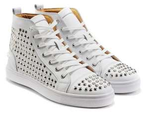 Mens Celebrity Spike Studded Shoes Mid top SneakersUS6.5 9.5 EUR40 43