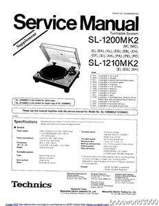 Technics SL 1200MK2 Turntable Service Manual PDF format