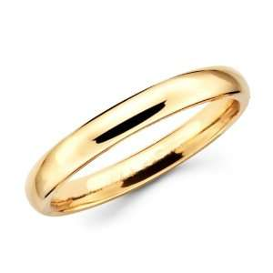 14K Solid Yellow Gold Plain Wedding Band Ring 3mm Size 12
