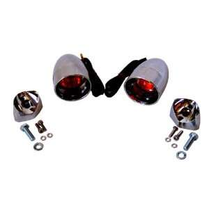 Harley Chrome Deuce Style Smoked Lens and Amber 1157 Bulb Turn Signals