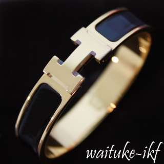 BRAND NEW 2011 Hermes CLIC CLAC GOLD H Bangle Black Enamel GOLD plated